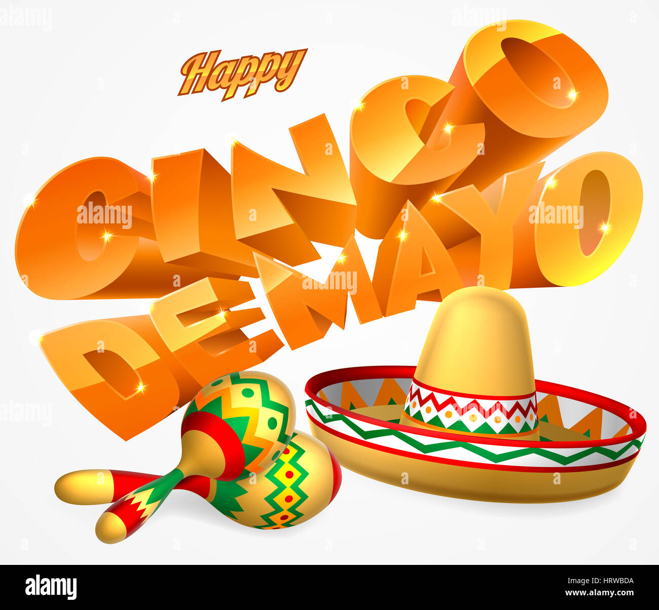 A happy cinco de mayo label sign decal design with mexican sombrero straw sun hat and maracas shakers