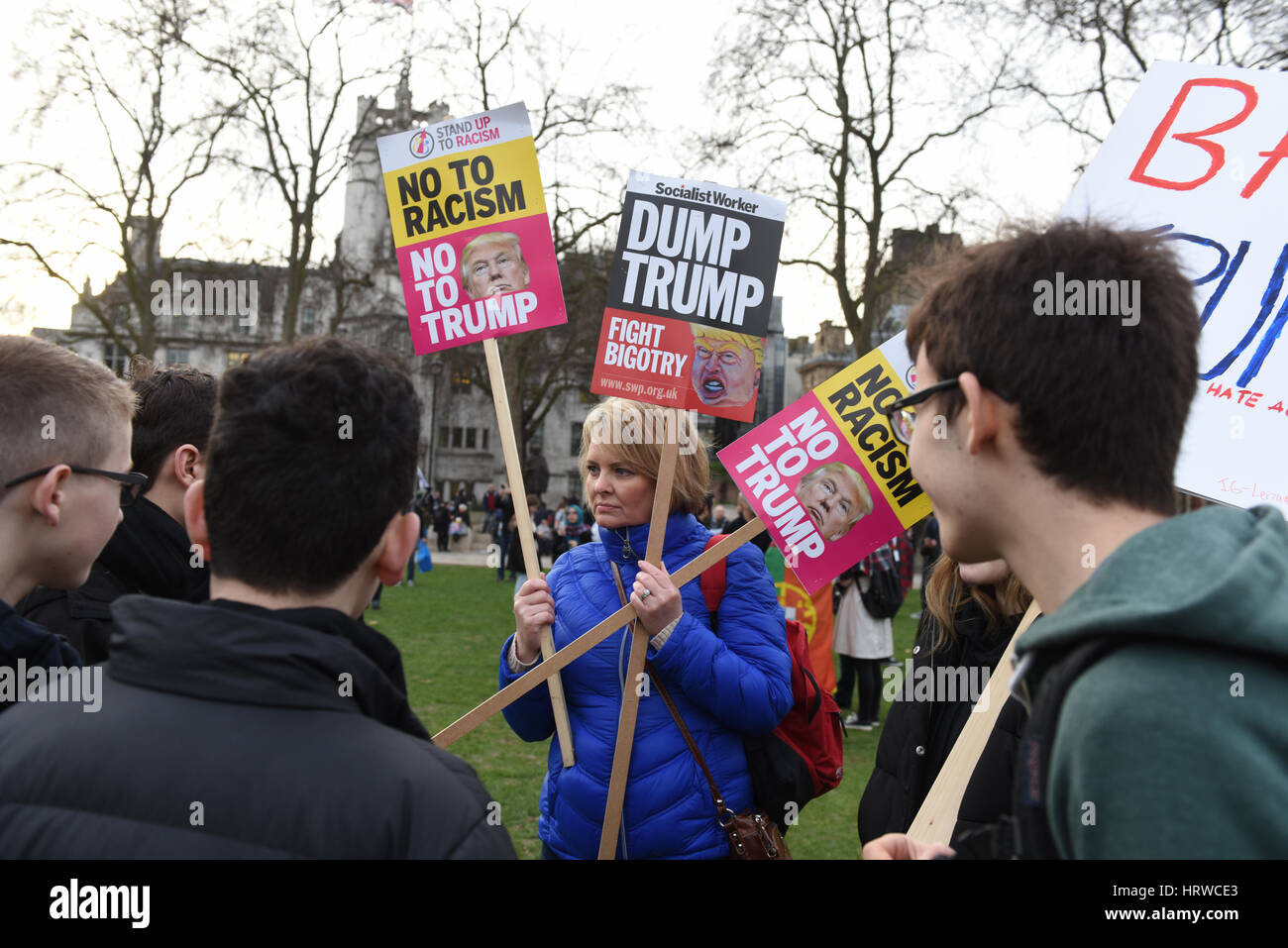 Stop Trump & Stop Brexit demonstration in Parliament Square, London. - Stock Image