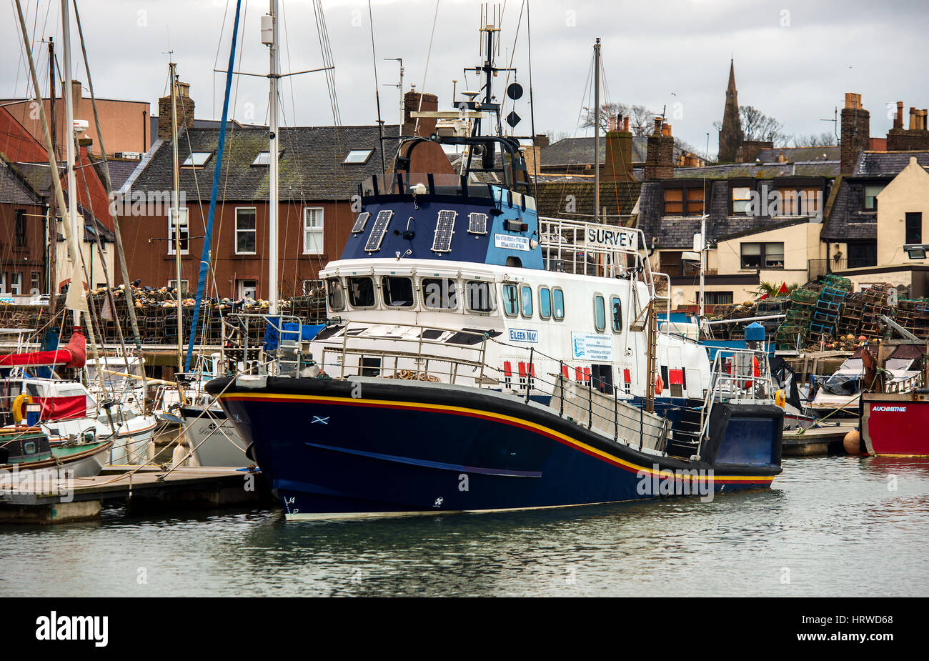 Survey Ship Arbroath Harbour - Stock Image