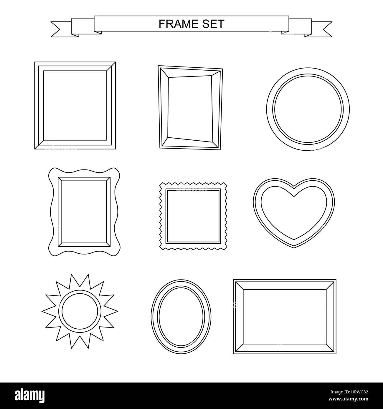 Line photo frames - Stock Image