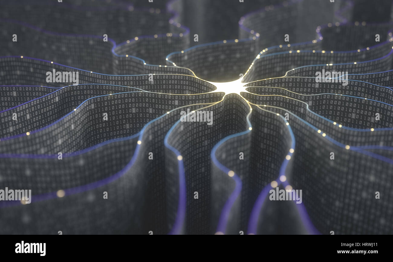Artificial neuron in concept of artificial intelligence. Wall-shaped binary codes make transmission lines of pulses - Stock Image