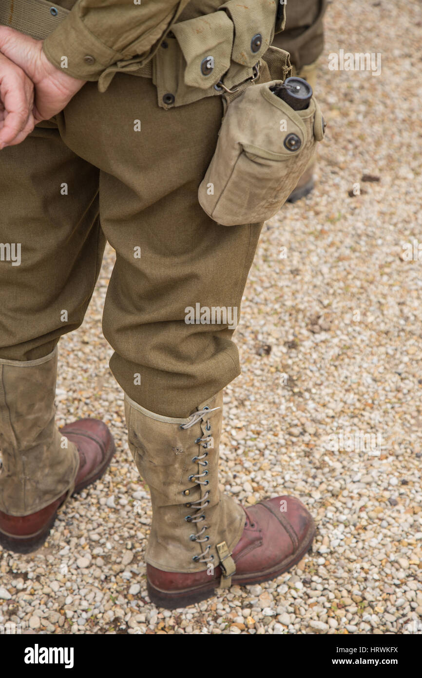 Soldier with ancient uniform of World War II seen from behind Stock Photo