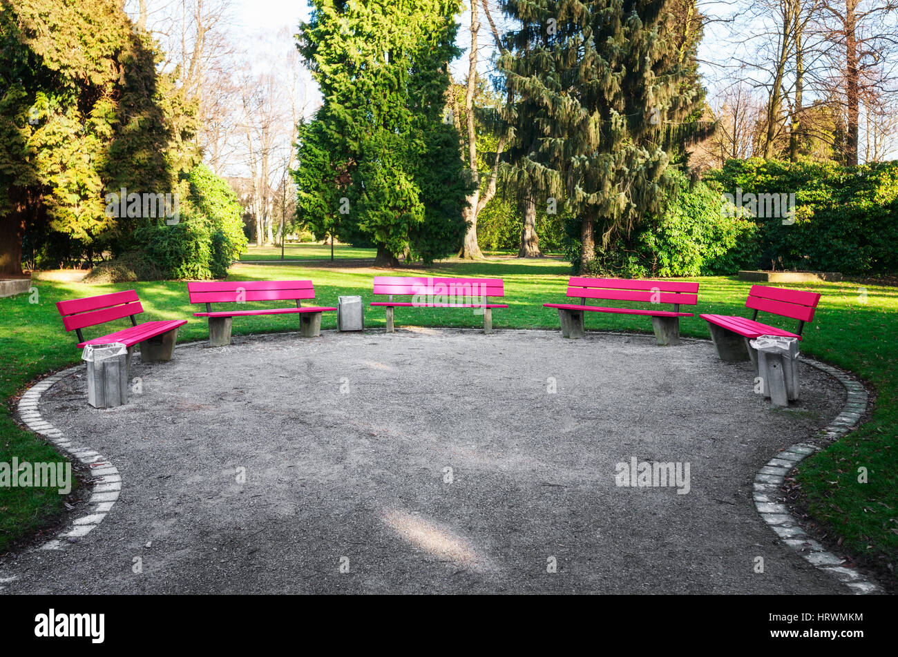 Awe Inspiring Pink Benches In City Park February Landscape With Green Machost Co Dining Chair Design Ideas Machostcouk