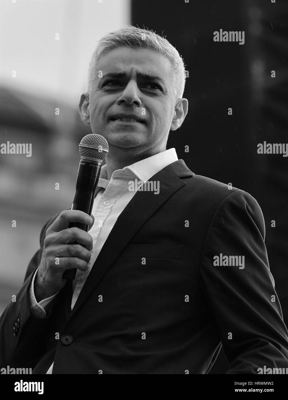 London, UK, 26, 02, 2017: The Mayor of London Sadiq Khan ( Image digitally altered to monochrome) attends a free - Stock Image