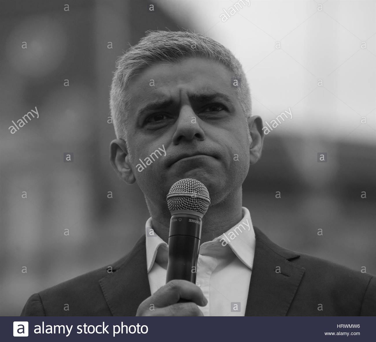 London, UK, 26, 02, 2017: The Mayor of London Sadiq Khan ( Image digitally altered to monochrome ) attends  a free - Stock Image