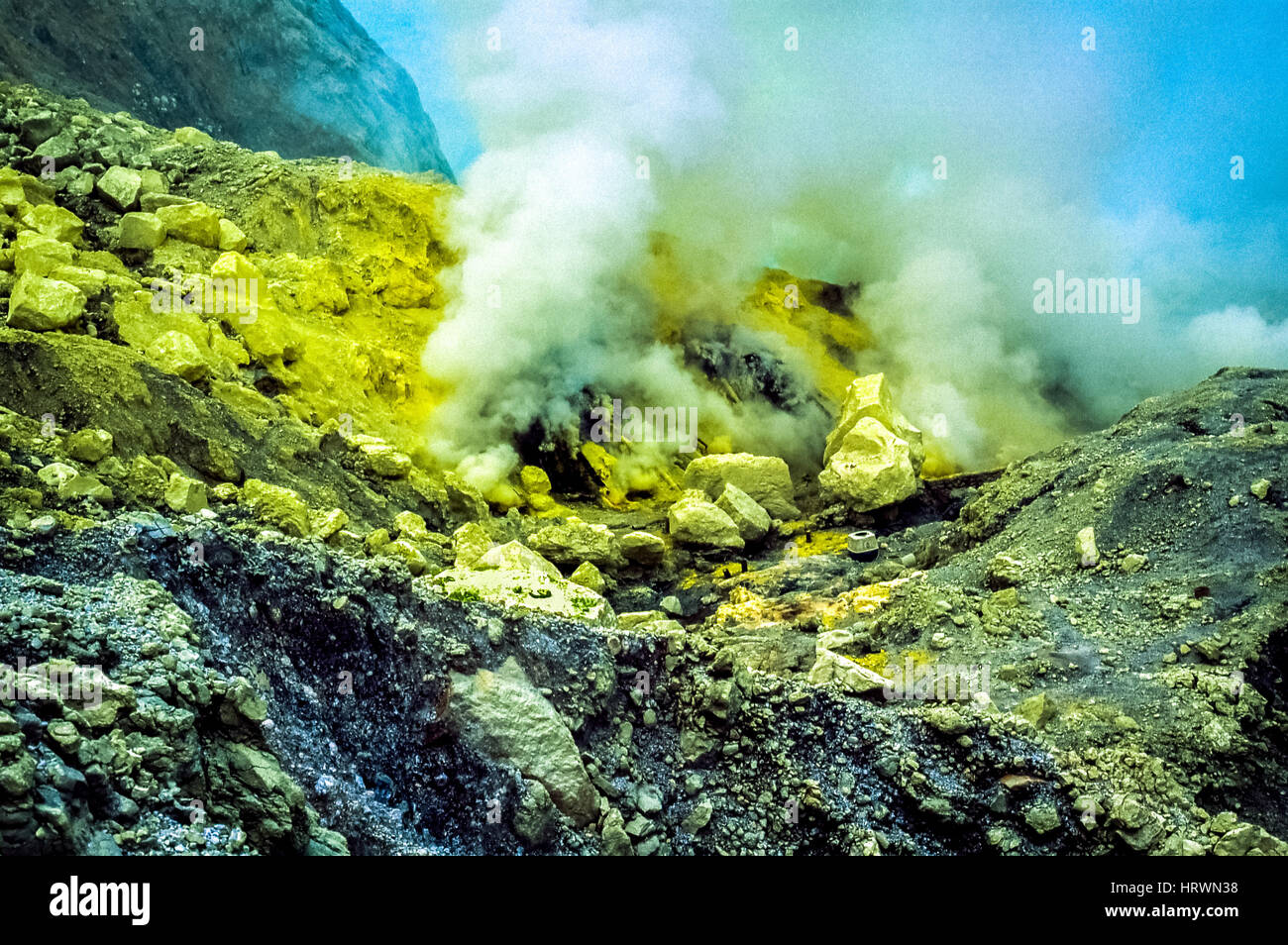 Steams rising from the fumaroles of Mount Ijen volcano in East Java, Indonesia. Stock Photo