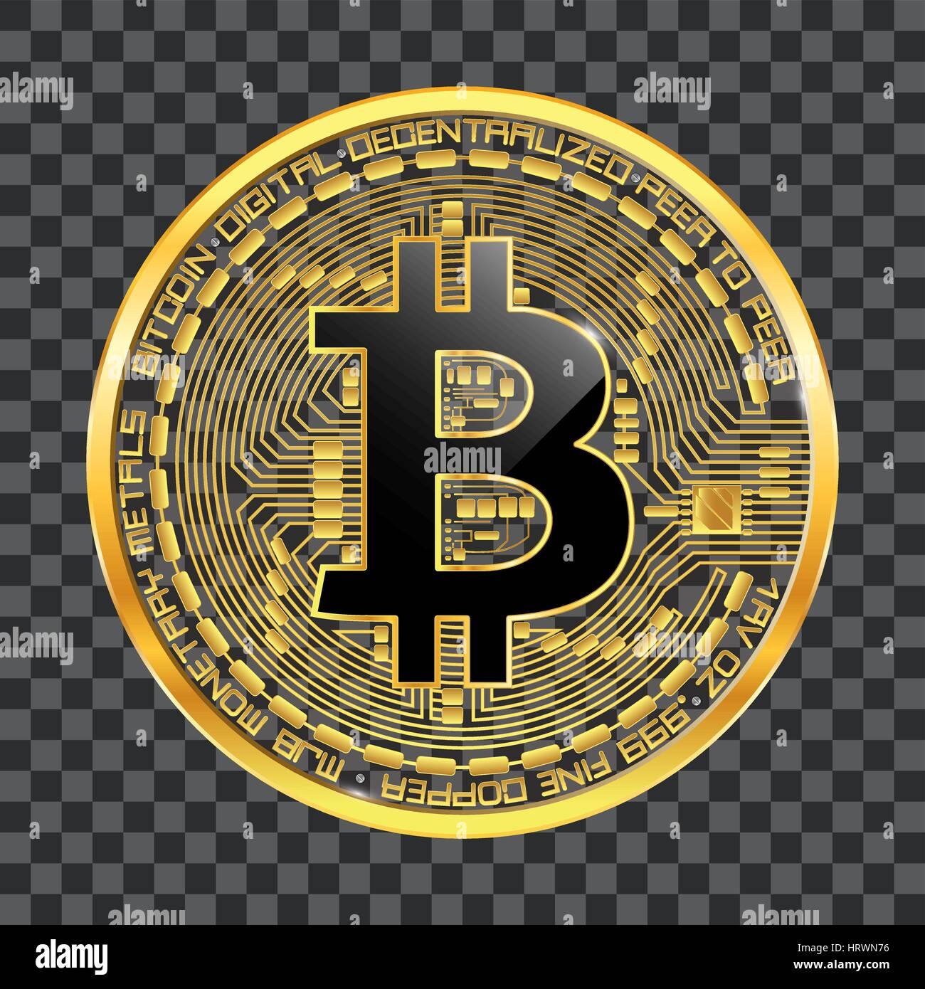 Crypto Currency Golden Coin With Black Lackered Bitcoin Symbol On Stock Vector Image Art Alamy
