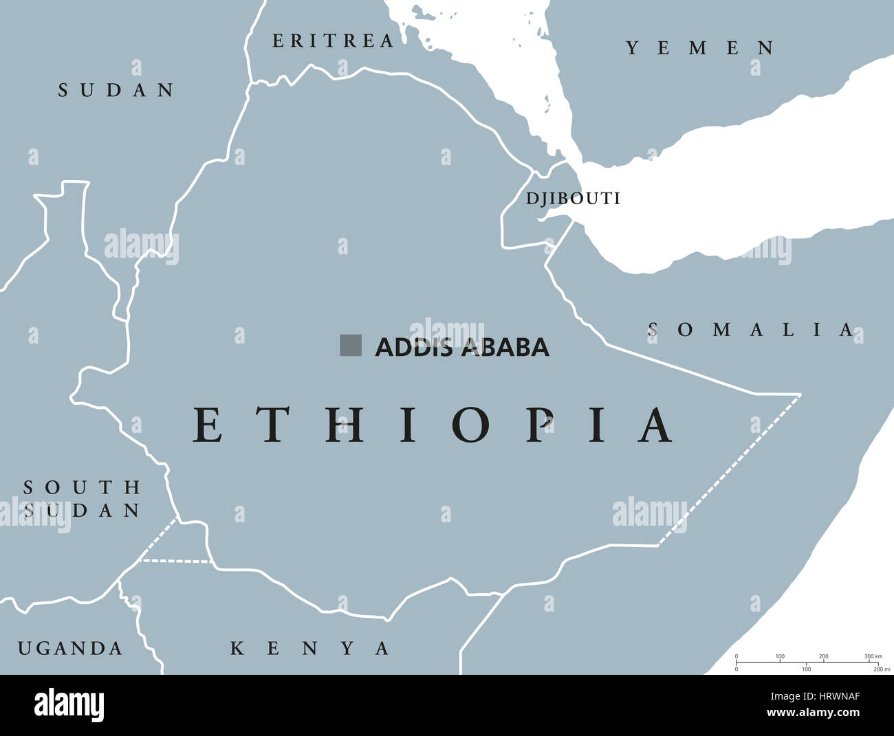 Ethiopia political map with capital Addis Ababa and borders