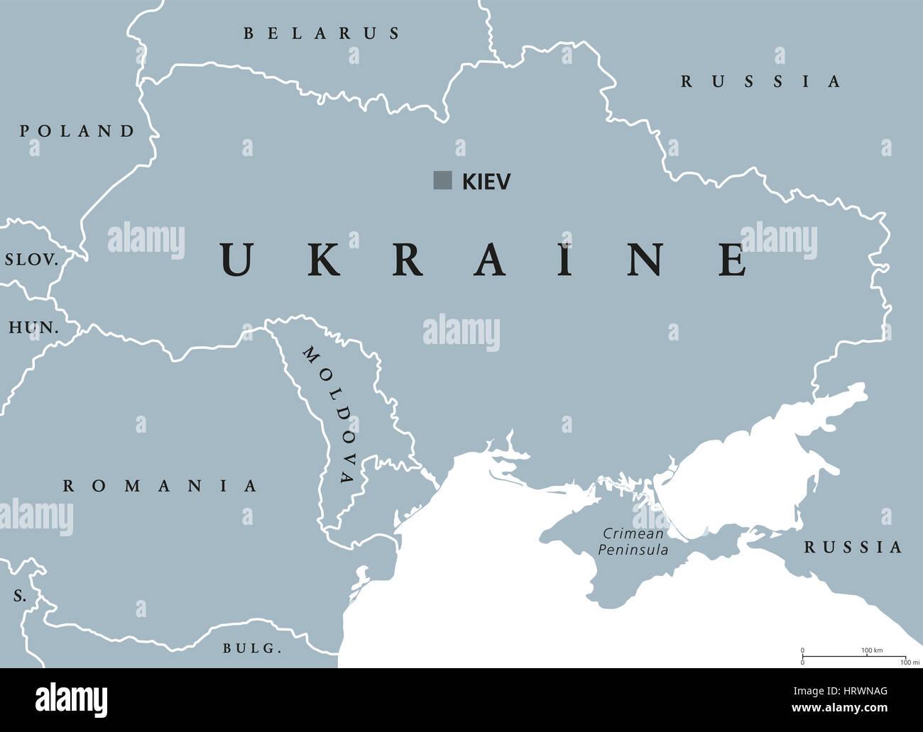 Ukraine Political Map With Capital Kiev National Borders Crimean