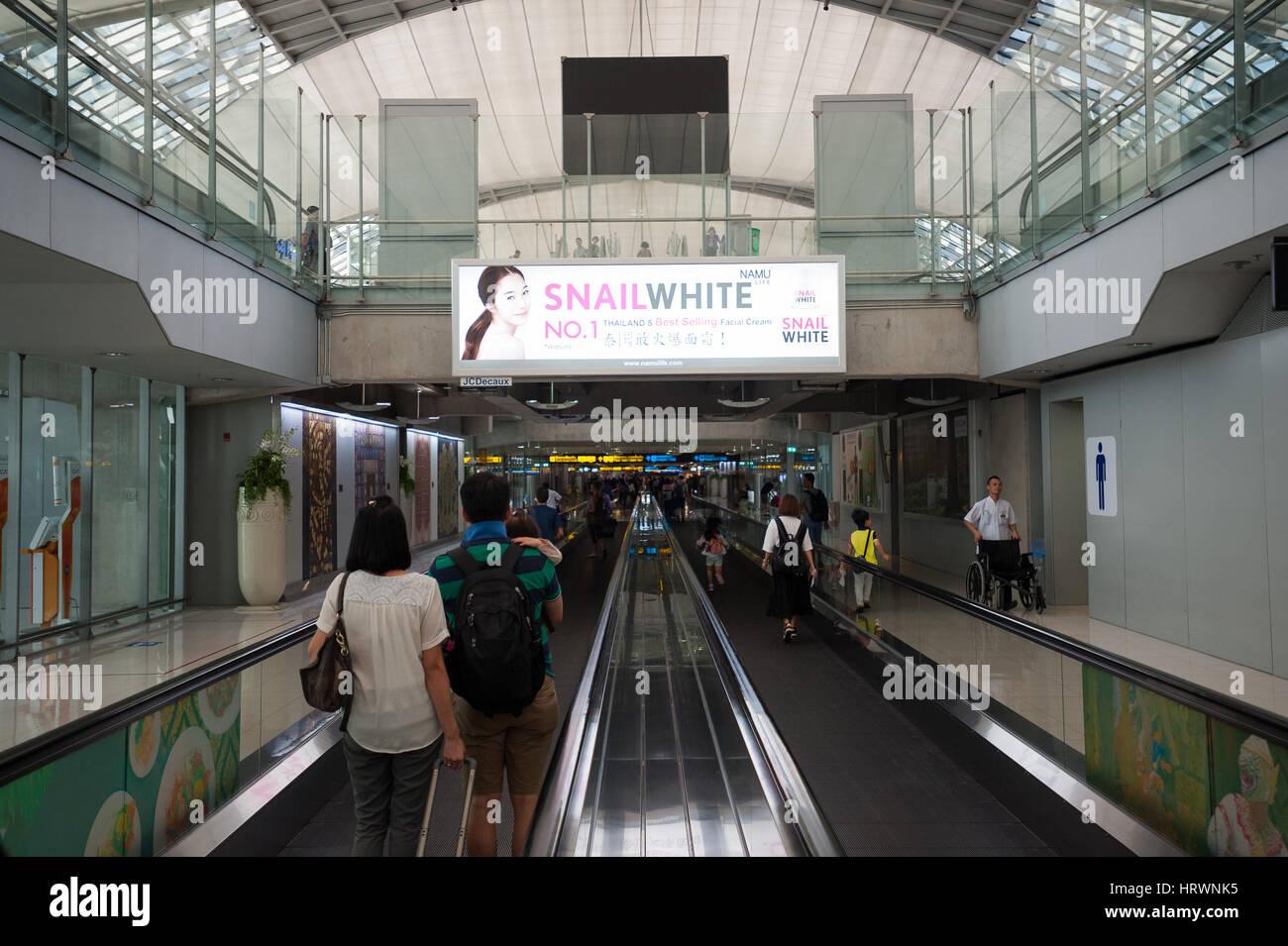 25.01.2017, Bangkok, Thailand, Asia - A view inside the arrival area at Bangkok's Suvarnabhumi Airport. - Stock Image