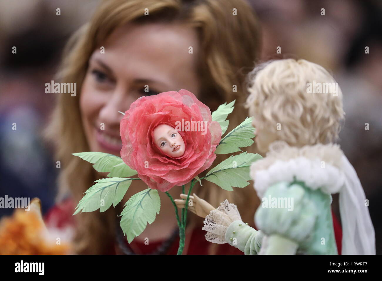 Moscow, Russia. 4th Mar, 2017. Showpieces on display at the 5th international designer dolls exhibition at the T - Stock Image