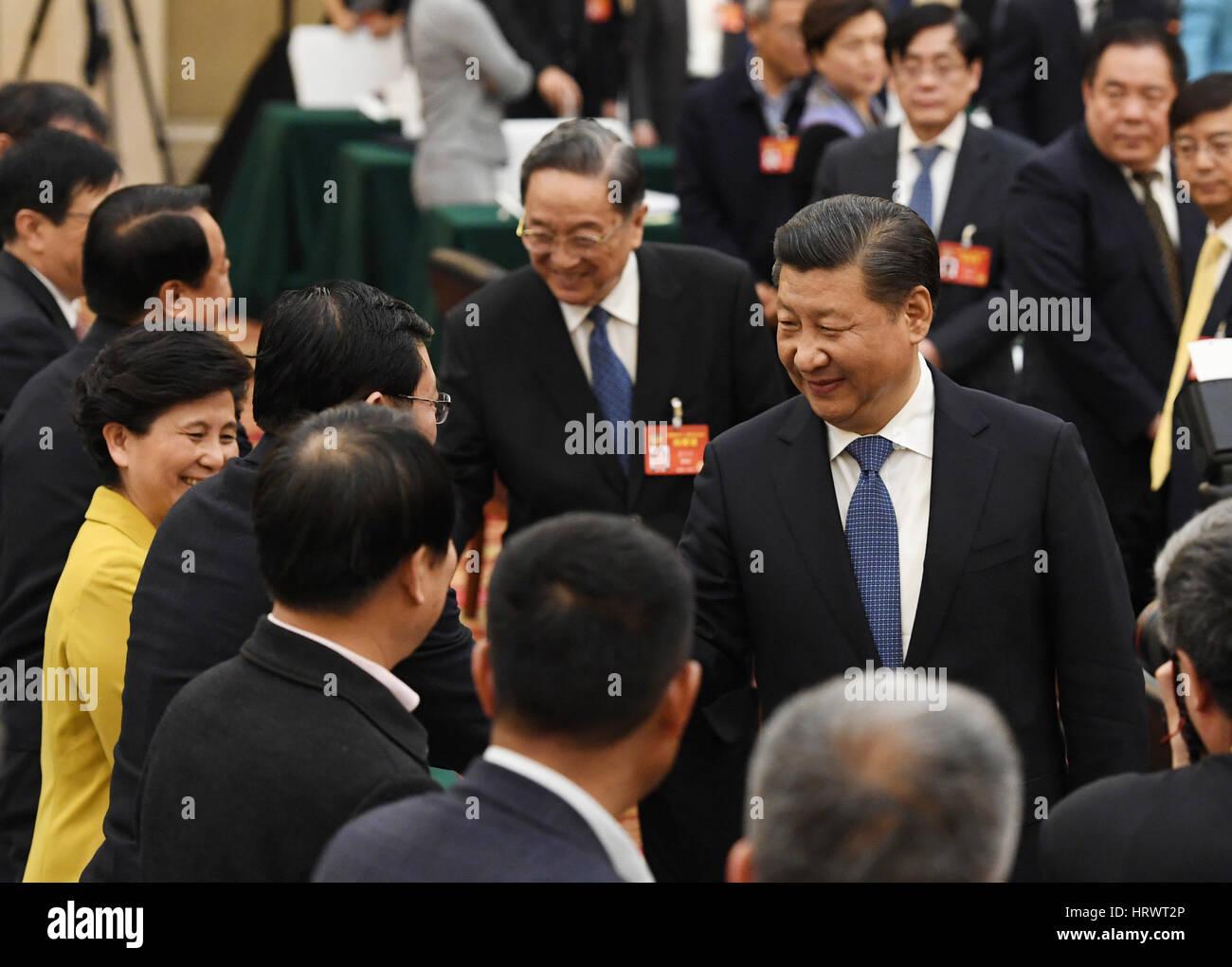 Beijing, China. 4th Mar, 2017. Chinese President Xi Jinping joins ...