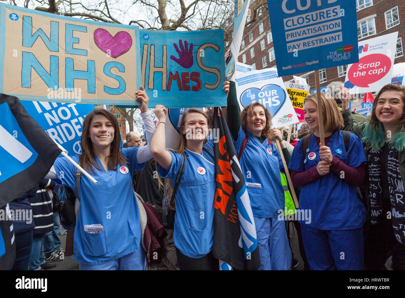 London, UK. 4th March, 2017. The National Health Action Party organise a National Demonstration and march to Westminster - Stock Image