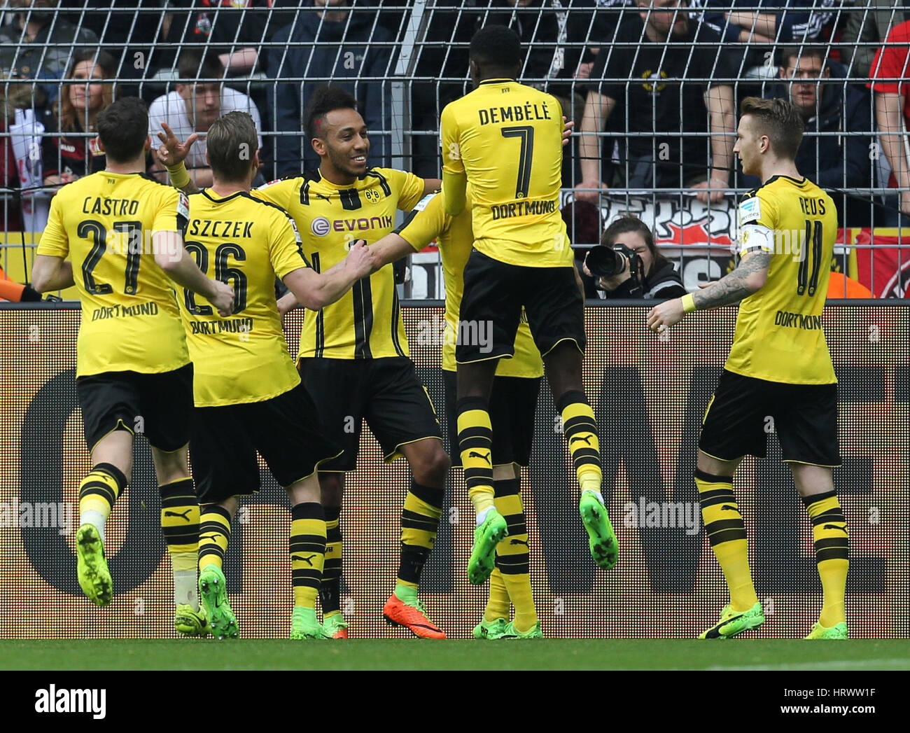 Dortmund's goal scorer Pierre-Emerick Aubameyang (M) celebrates his score 2:0 with Gonzalo Castro (l-r), Sokratis, - Stock Image