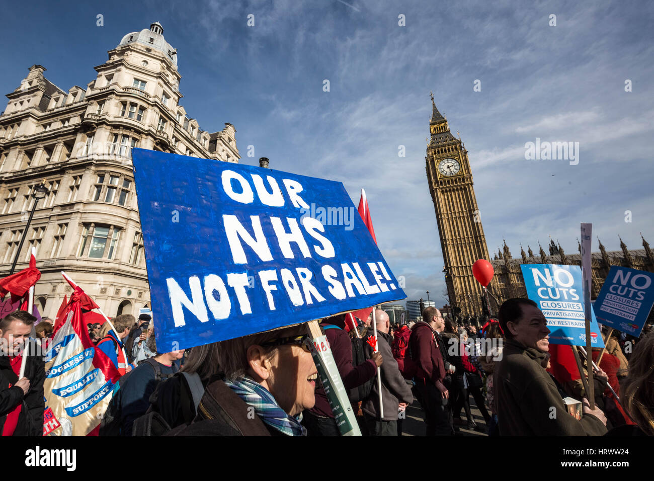 London, UK. 4th March, 2017. Thousands march through central London for the National Demonstration to Defend the - Stock Image