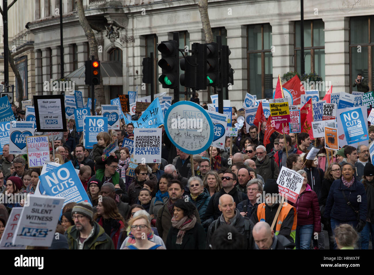 London, UK. 4th Mar, 2017. National demonstration to defend the NHS on the march Credit: Brian Southam/Alamy Live - Stock Image