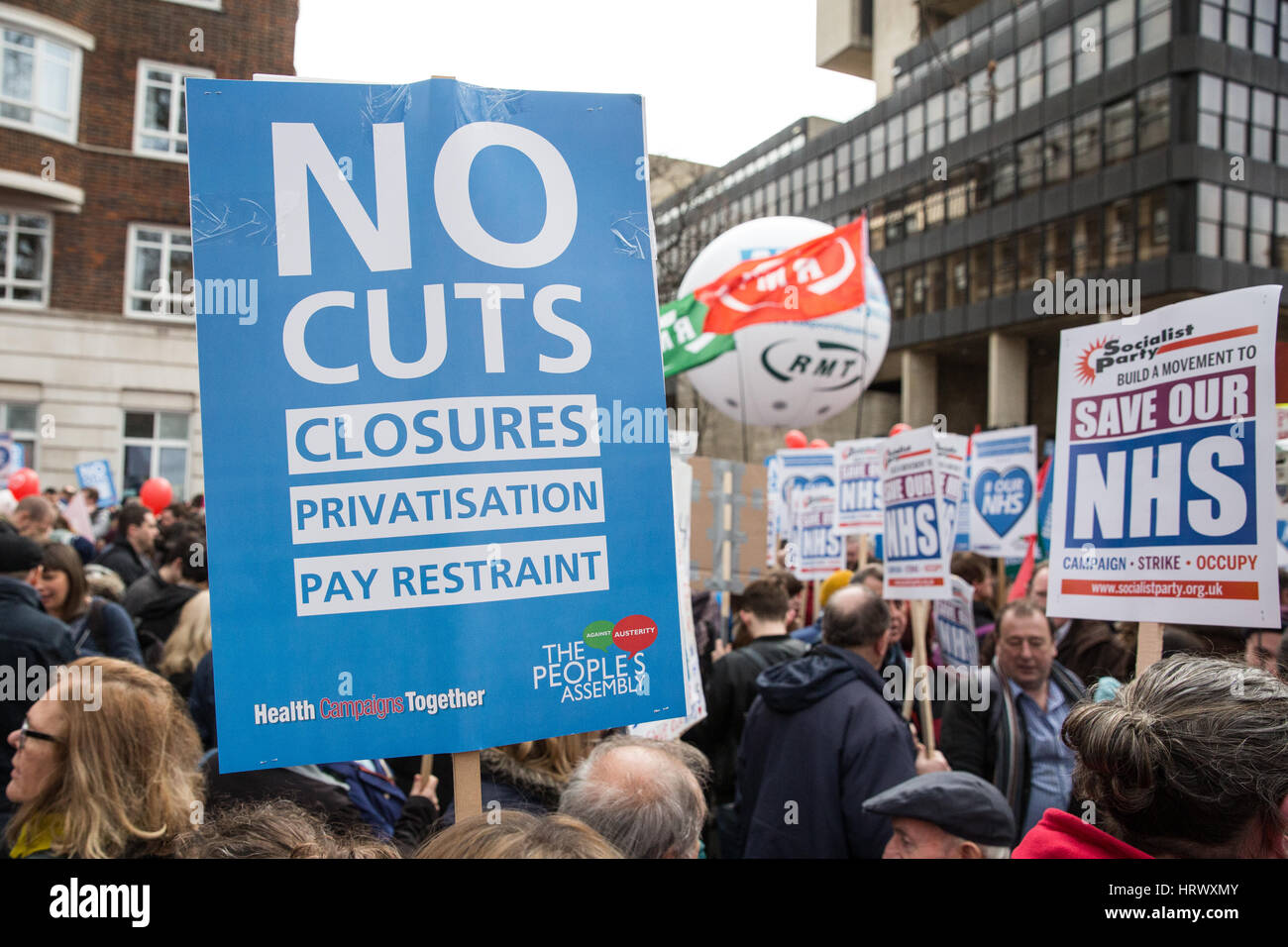London, UK. 4th March, 2017. Supporters of the NHS take part in the It's Our NHS national demonstration in support - Stock Image