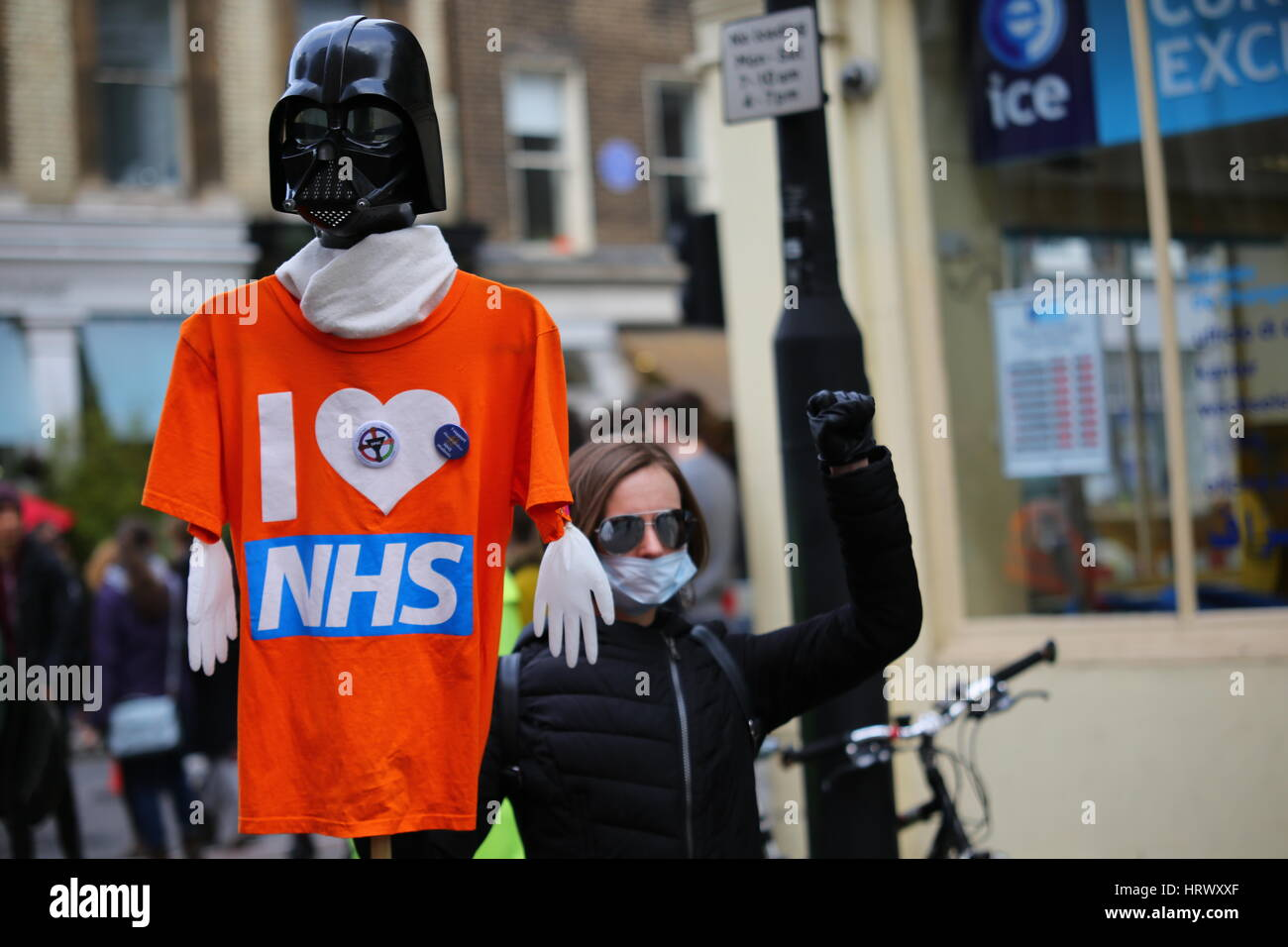 London, UK. 4th March. 2017. The demonstration, organised by Health Campaigns Together and The People's Assembly - Stock Image