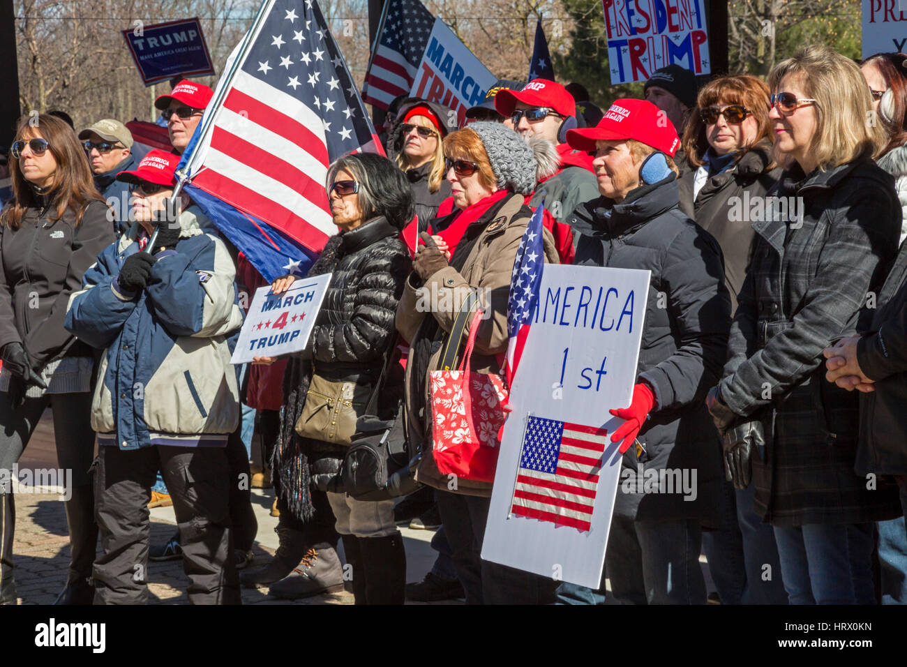 Sterling Heights, Michigan, USA. 4th Mar, 2017. Supporters of President Donald Trump at a 'March 4 Trump' - Stock Image