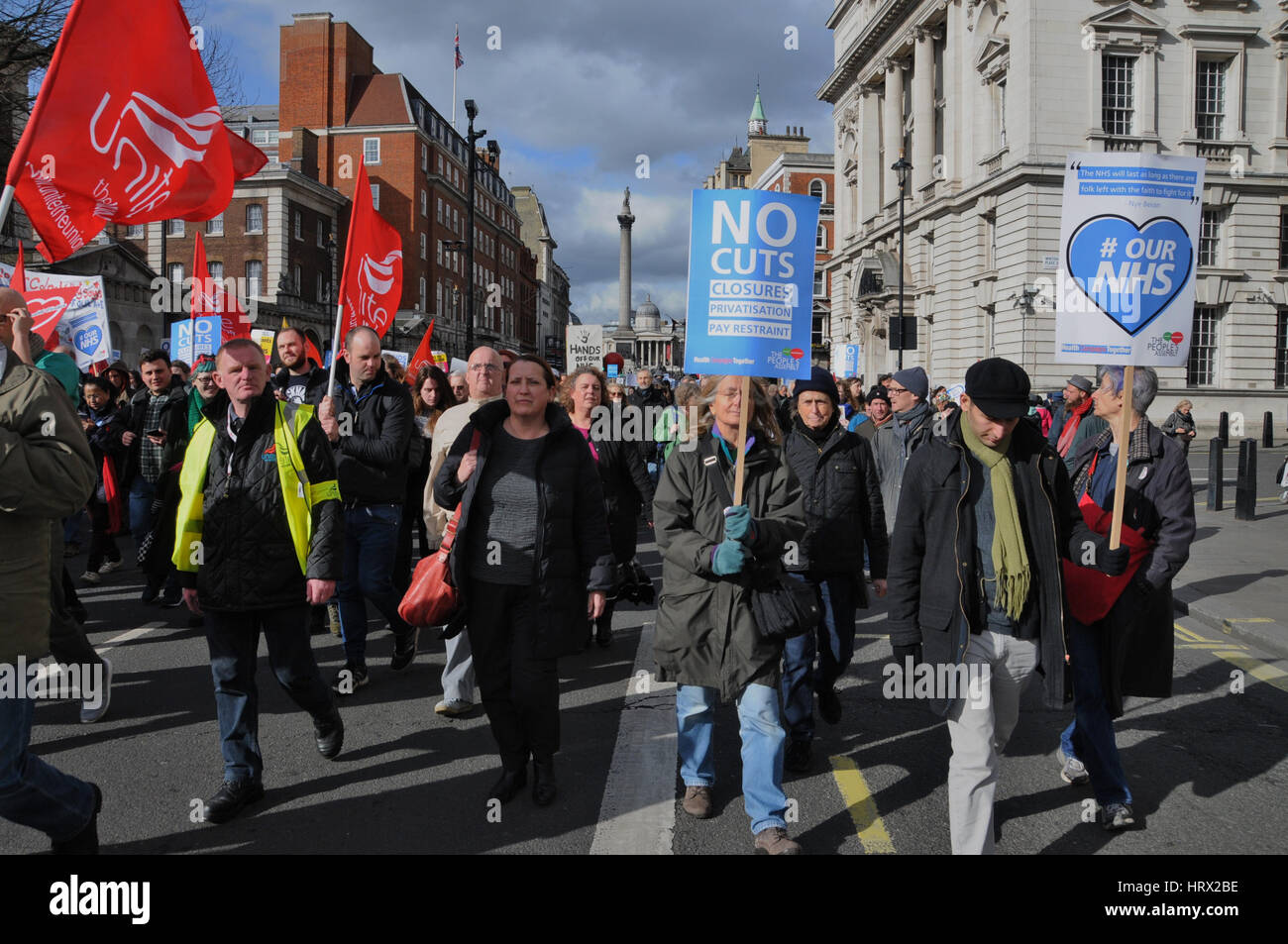 London, UK. 04th Mar, 2017. Protesters make their way down London's Whitehall, on their way to Westminster's - Stock Image