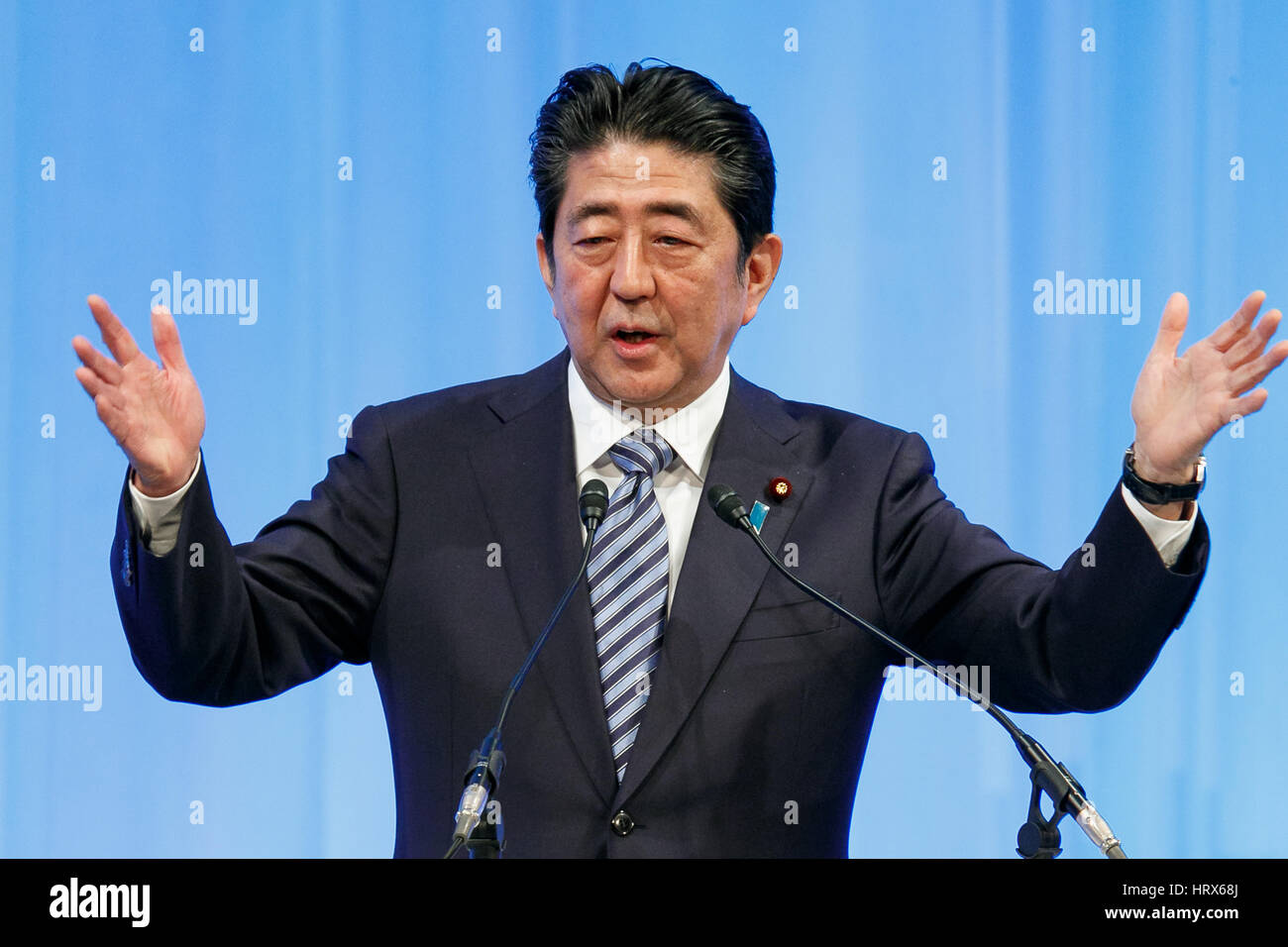 Prime Minister Shinzo Abe makes a speech during the Liberal-Democratic Party's national convention on March - Stock Image