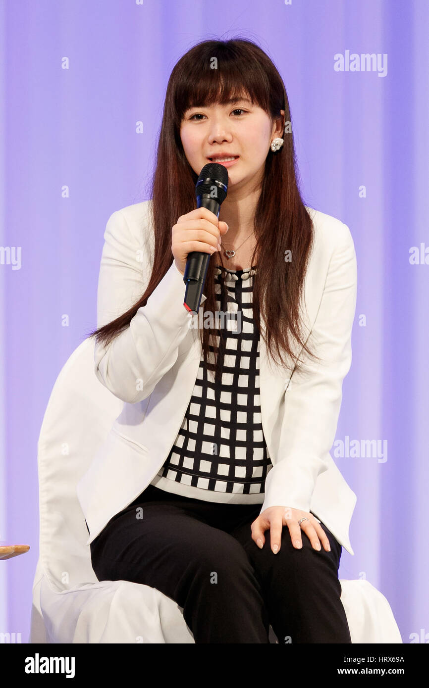 Table tennis player Ai Fukuhara speaks during the Liberal-Democratic Party's national convention on March 5, - Stock Image
