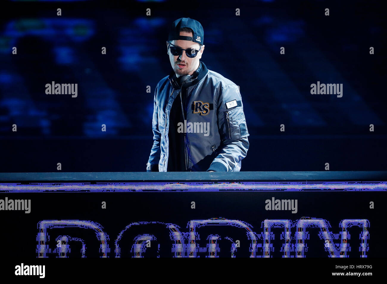 SANREMO, ITALY, February 11: Disc Jockey Robin Schulz performs during the 67th Sanremo Song Festival on February - Stock Image