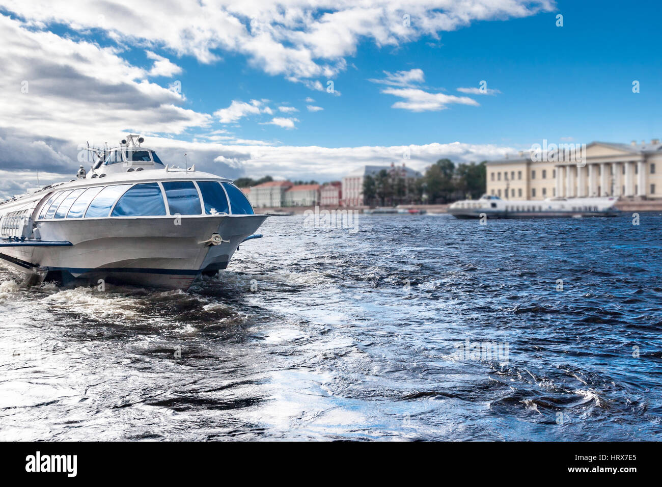 view of the embankment in the city of Sankt-Peterburg in clear summer day - Stock Image