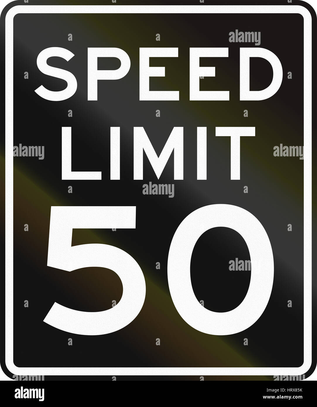 Speed limit road sign in the United States with black background and white symbols. Stock Photo