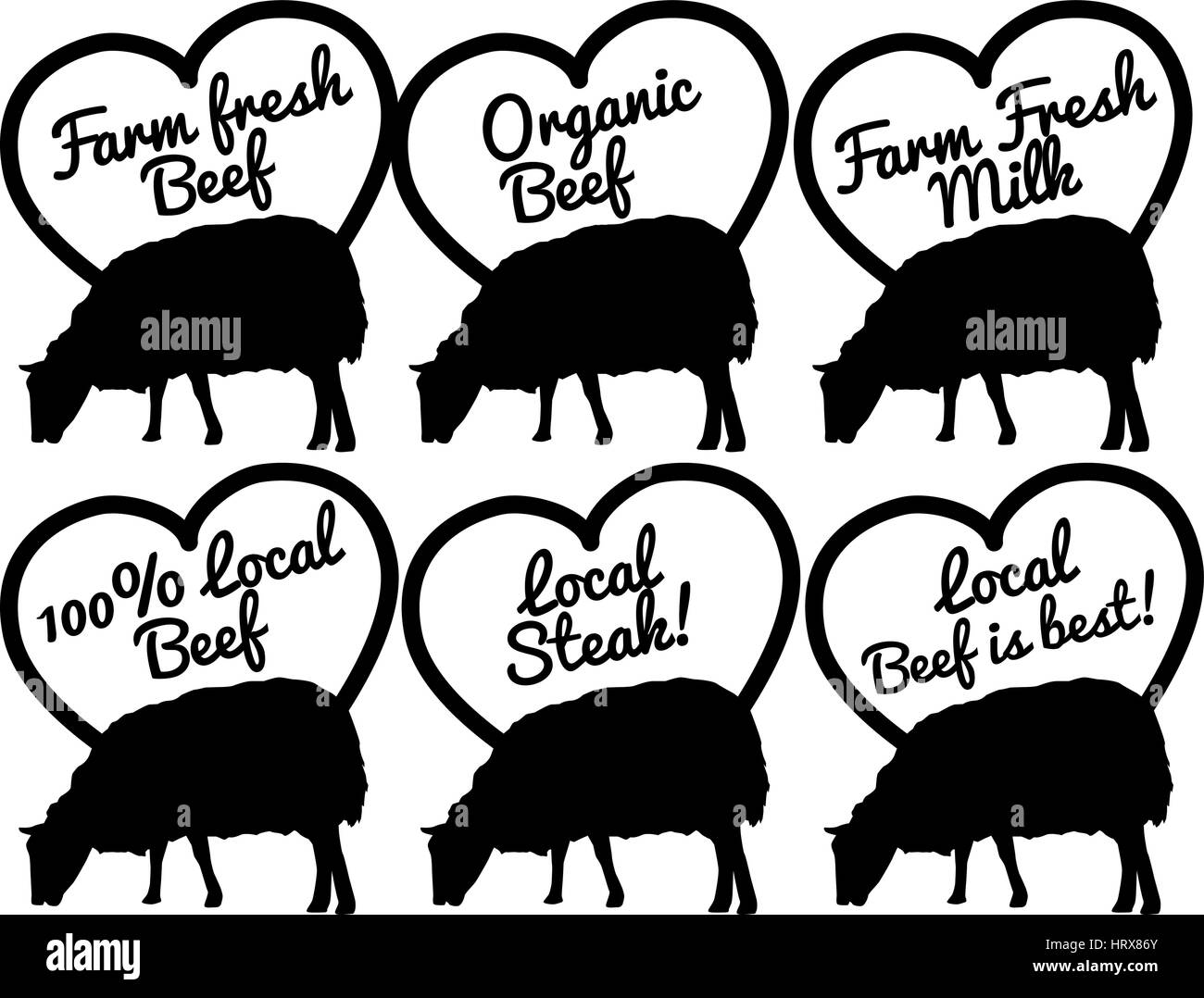 selection of vector and clip art symbols based on beef - Stock Vector