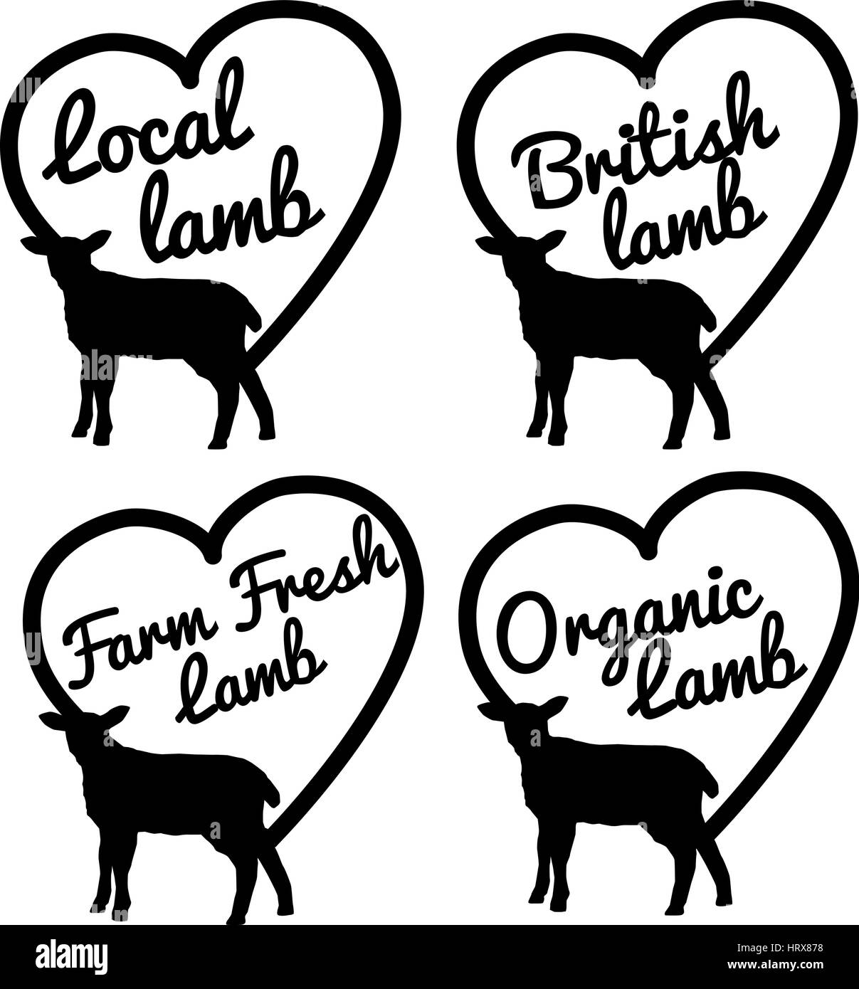 selection of vector and clip art symbols based on lamb - Stock Vector