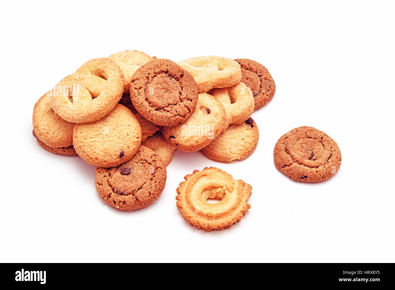 sweet biscuits variation isolated on white - Stock Image