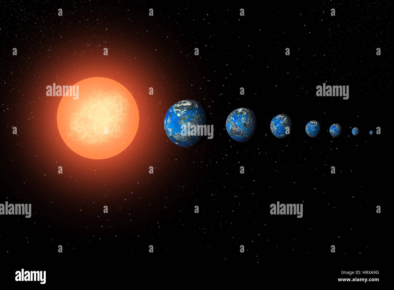The Dwarf Star System Named 'Trappist' , As 7 Earth Like  Exoplanets In Orbit Around It. - Stock Image