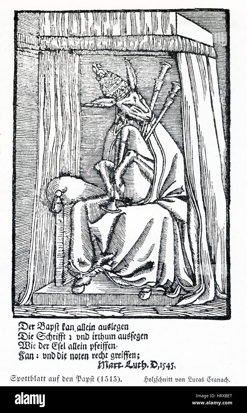 This illustration of the Pope dates to 1545 and is a copy of a woodcut by the German renaissance painter Lucas Cranach. Stock Photo