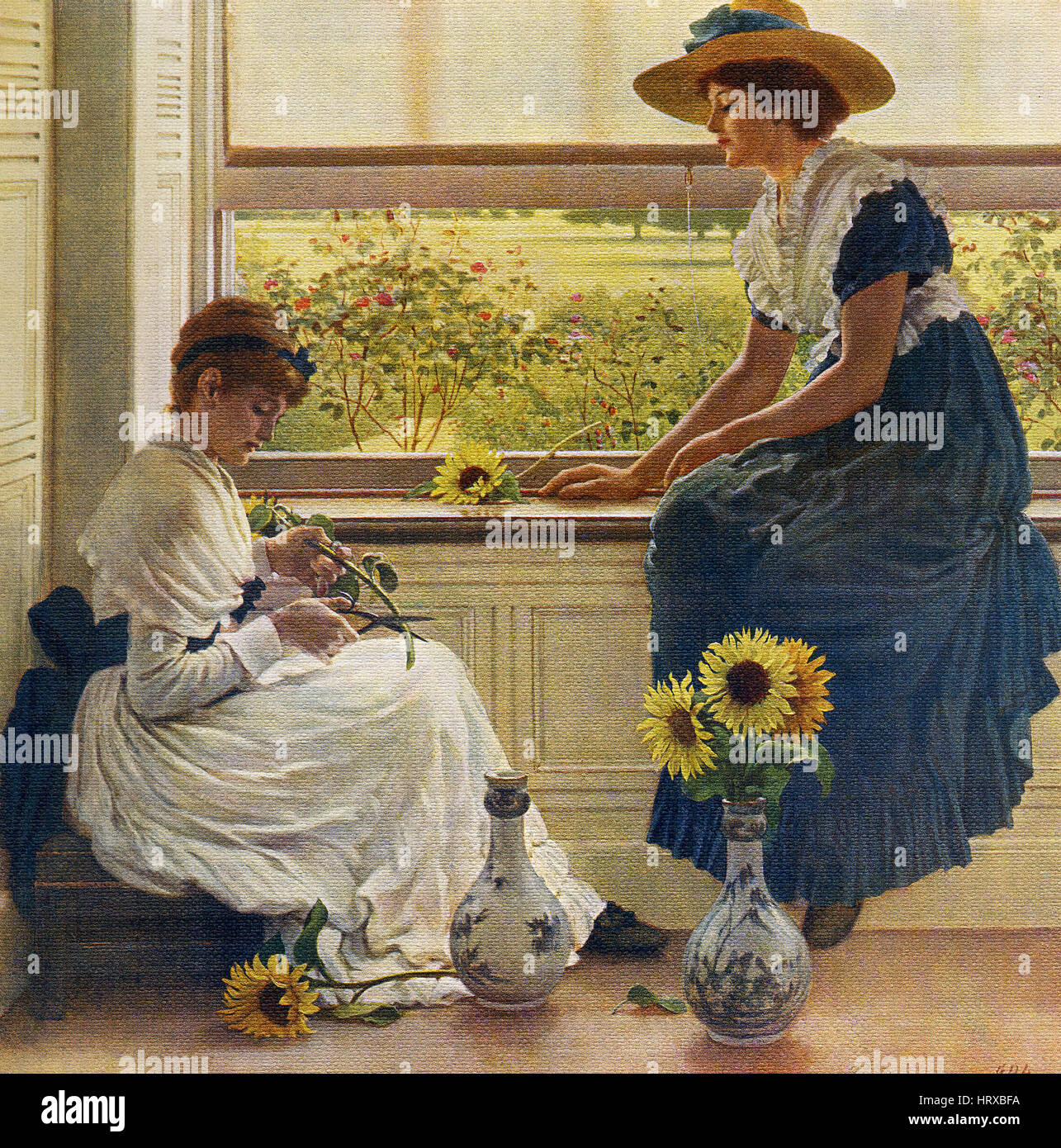 This painting, titled 'Sun and Moon Flowers,' is by the English artist George Dunlop Leslie (1835-1921). - Stock Image