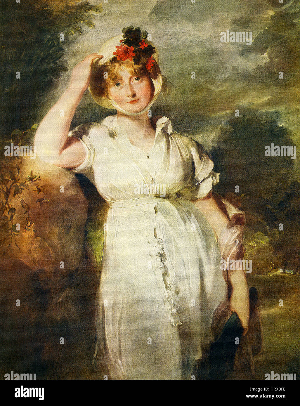 This painting, titled 'Caroline of Brunswick, Queen of George IV,' is by the English artist Sir Thomas Lawrence - Stock Image