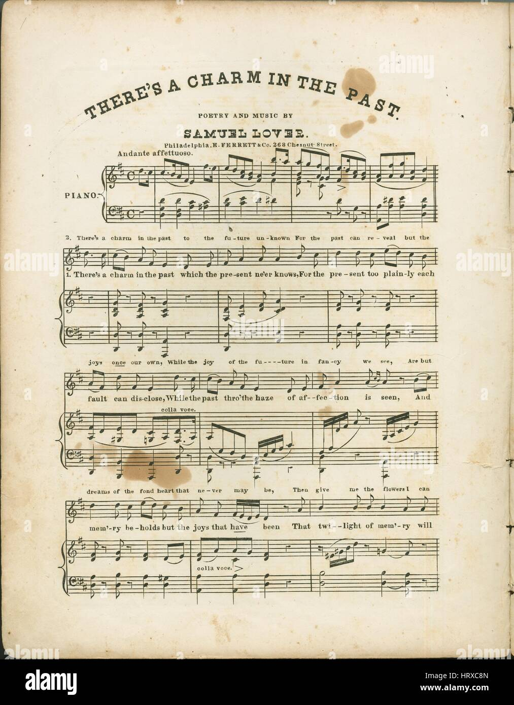 Sheet music cover image of the song 'There's a Charm in the Past', with original authorship notes reading - Stock Image