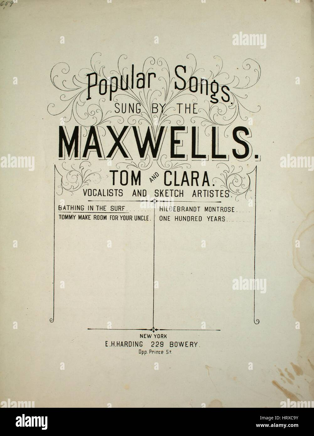 Sheet music cover image of the song 'Popular Songs Sung by the Maxwells, Tom and Clara, Vocalists and Sketch - Stock Image