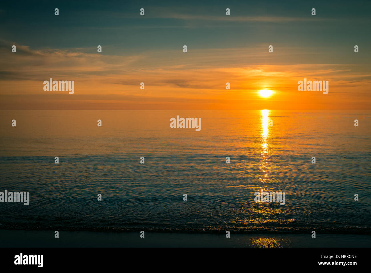 Sunset over the ocean, South Australia - Stock Image