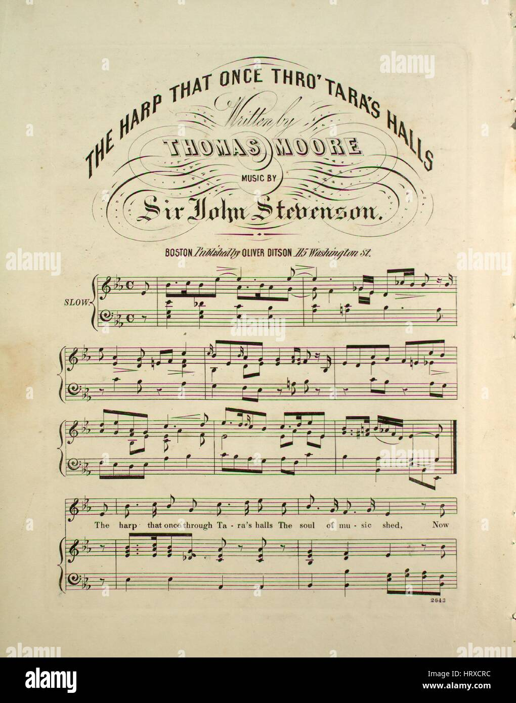 Sheet music cover image of the song 'The Harp That Once Thro' Tara's Halls', with original authorship - Stock Image