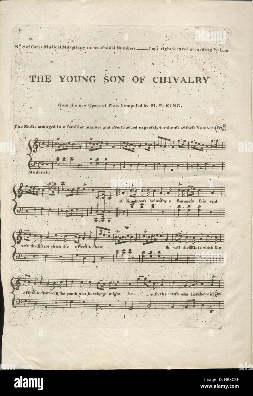 Sheet music cover image of the song 'The Young Son of Chivalry', with original authorship notes reading 'from the Stock Photo