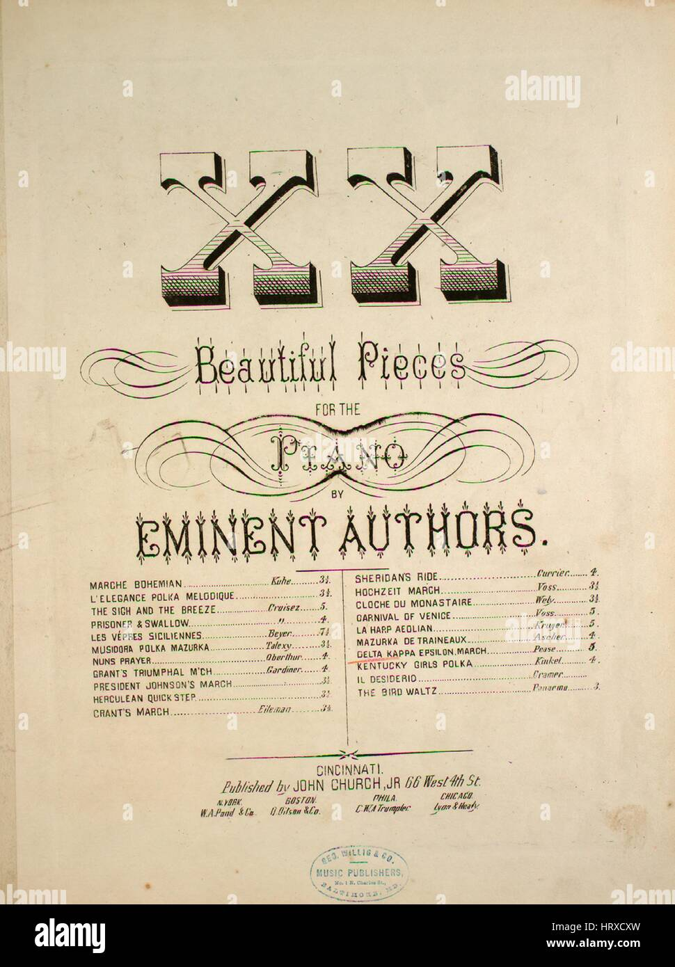Sheet music cover image of the song 'XX Beautiful Pieces for