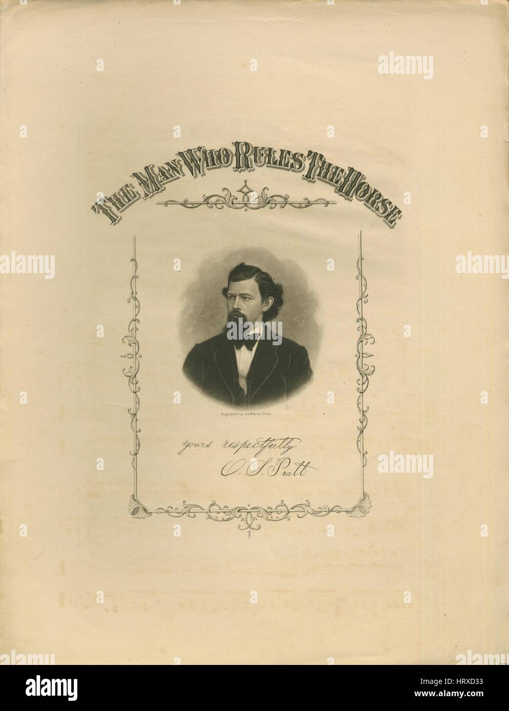 Sheet music cover image of the song 'The Man Who Rules The Horse', with original authorship notes reading - Stock Image