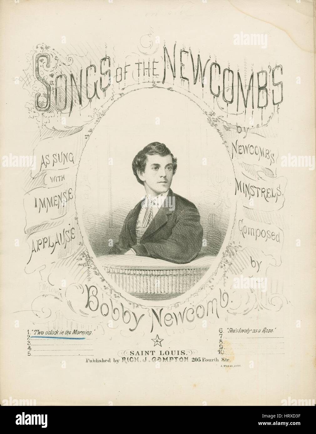 Sheet Music Cover Image Of The Song Two Oclock In The Morning Songs Of The Newcombs With Original Authorship Notes Reading Composed By Bobby Newcomb