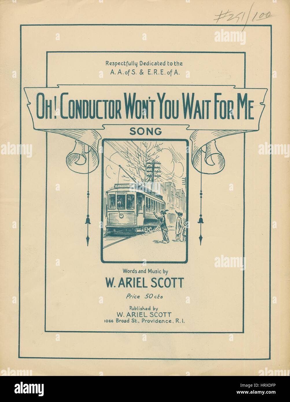 Sheet music cover image of the song 'Oh! Conductor Won't You Wait for Me? Song', with original authorship - Stock Image