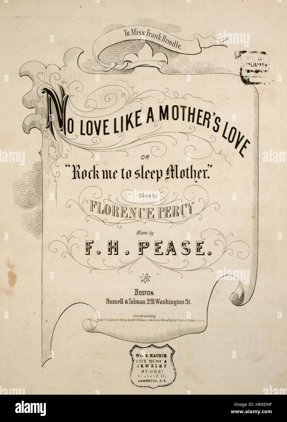 sheet music cover image of the song no love like a mother s love