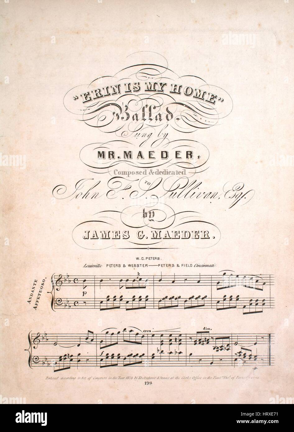 Sheet music cover image of the song 'Erin is My Home Ballad', with original authorship notes reading 'Composed - Stock Image