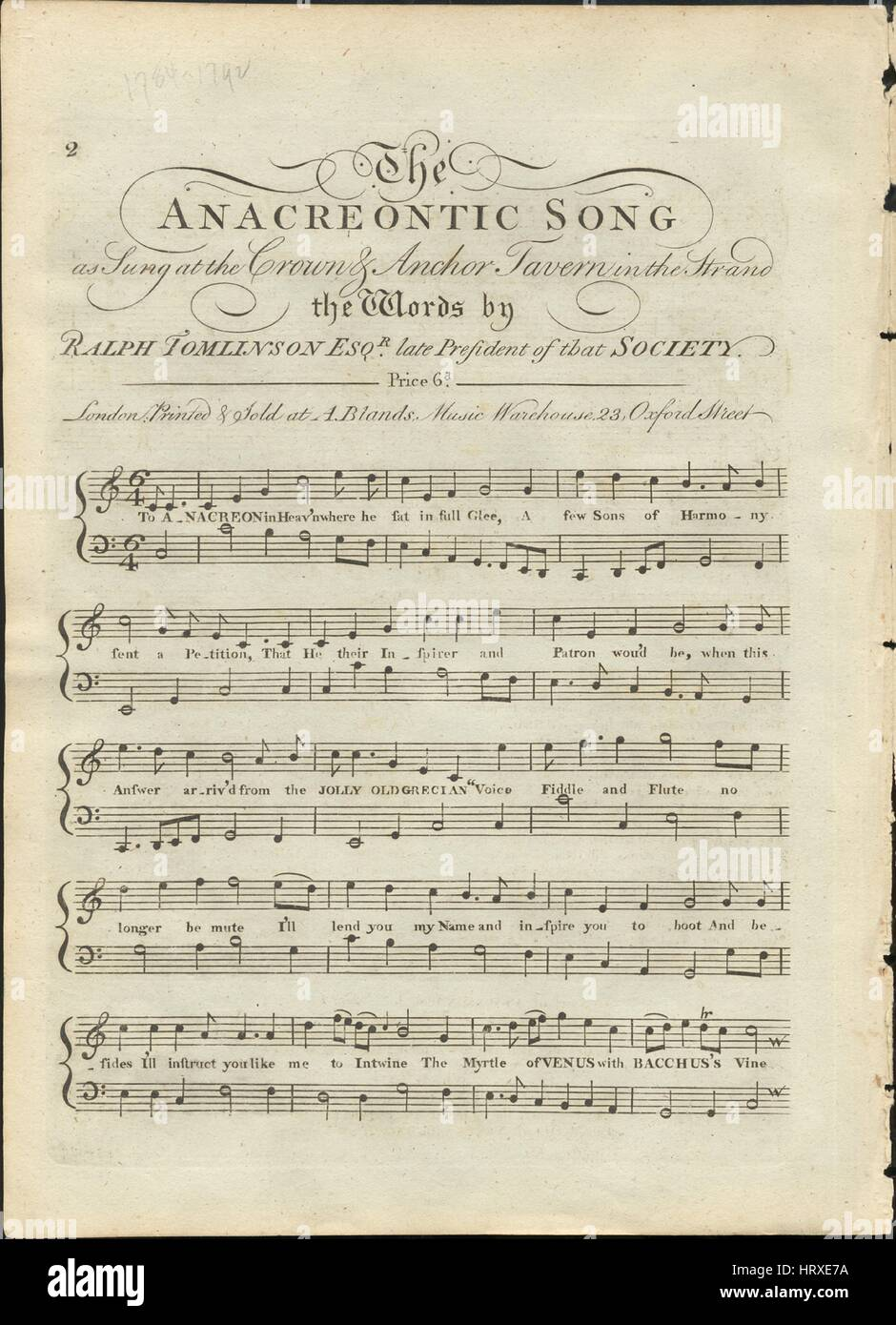Sheet music cover image of the song 'The Anacreontic Song', with original authorship notes reading 'the - Stock Image