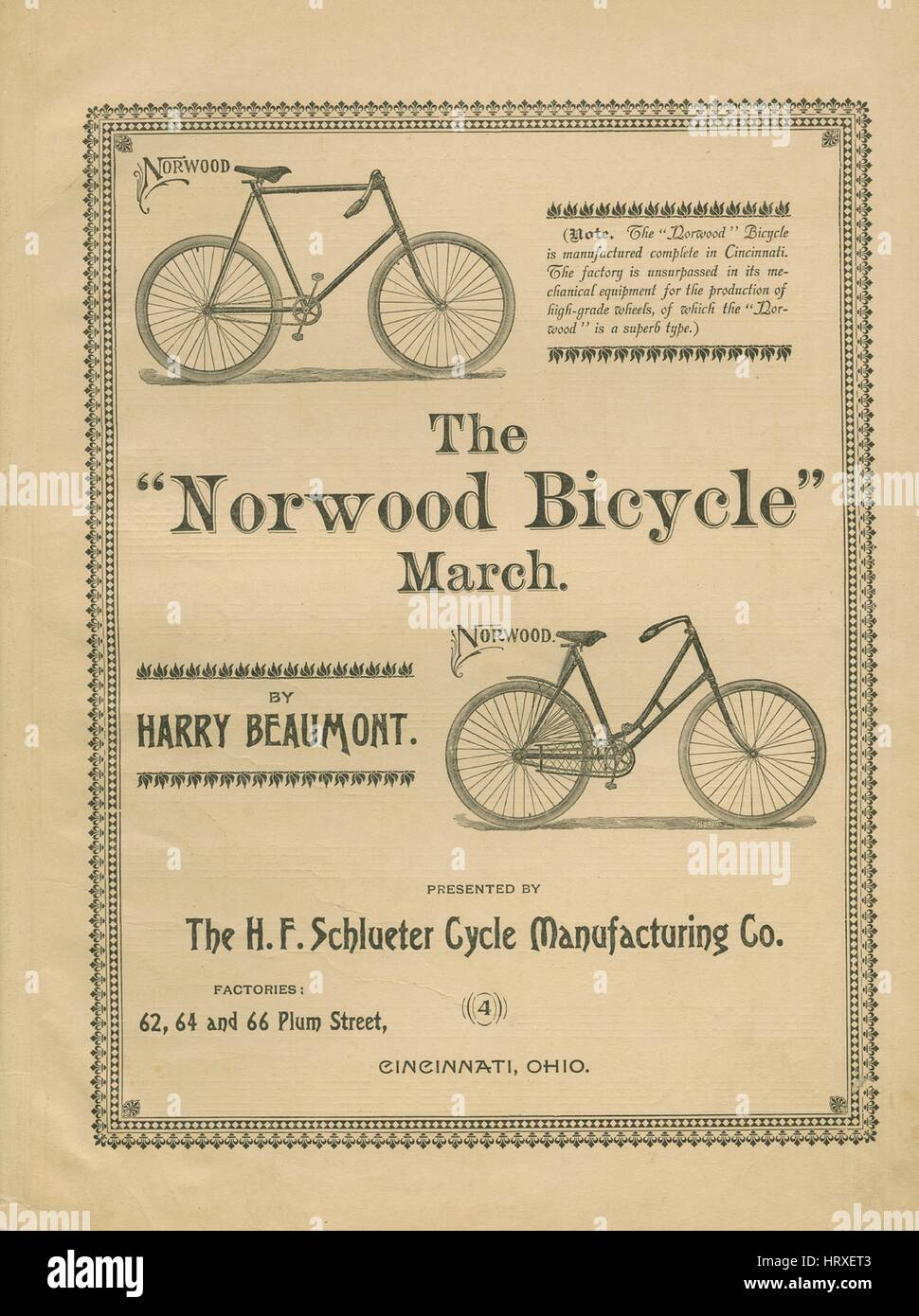 eddf0ac7a4f6 Sheet music cover image of the song 'The 'Norwood Bicycle' March',