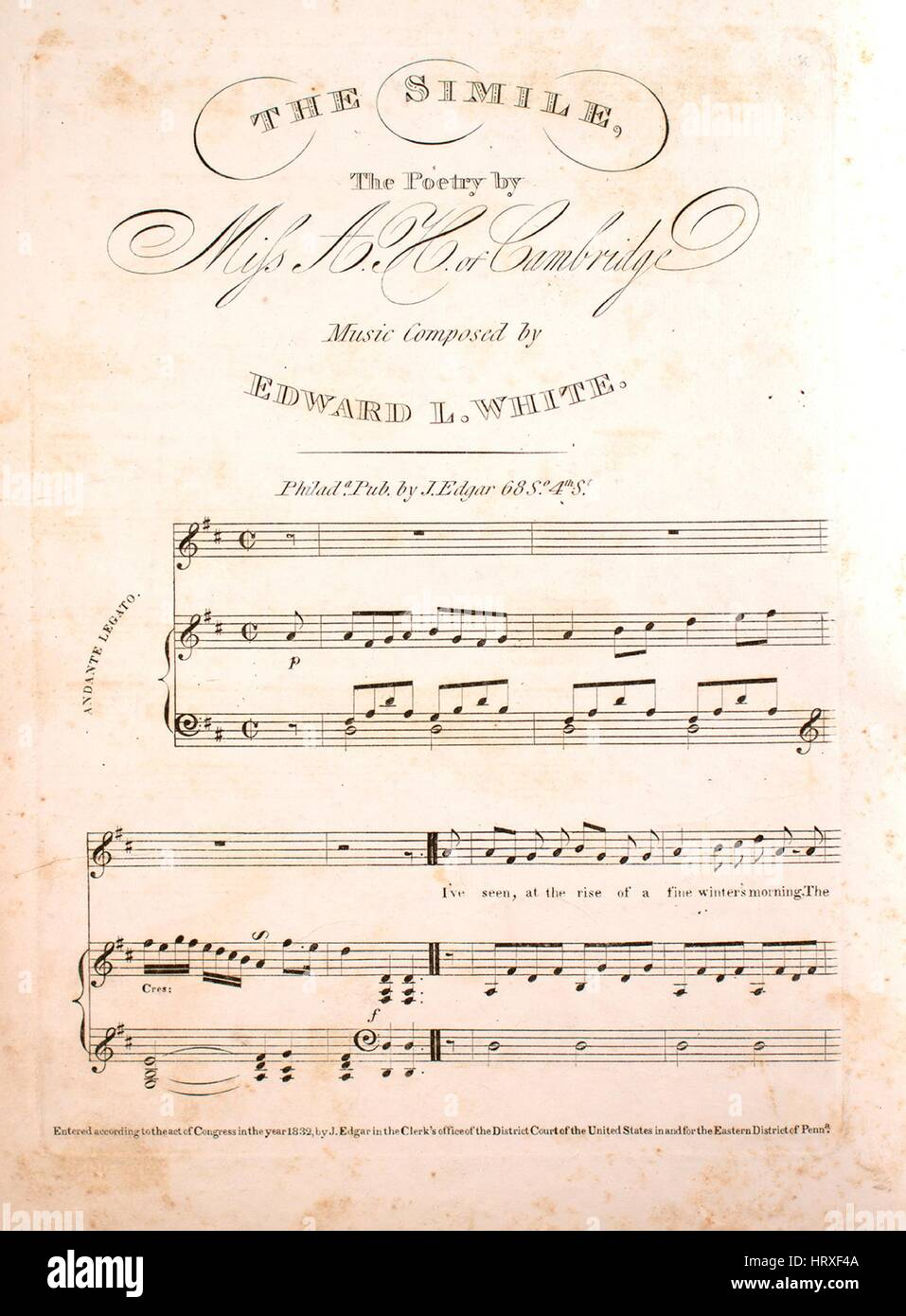Sheet music cover image of the song 'The Simile', with original authorship notes reading 'The Poetry - Stock Image